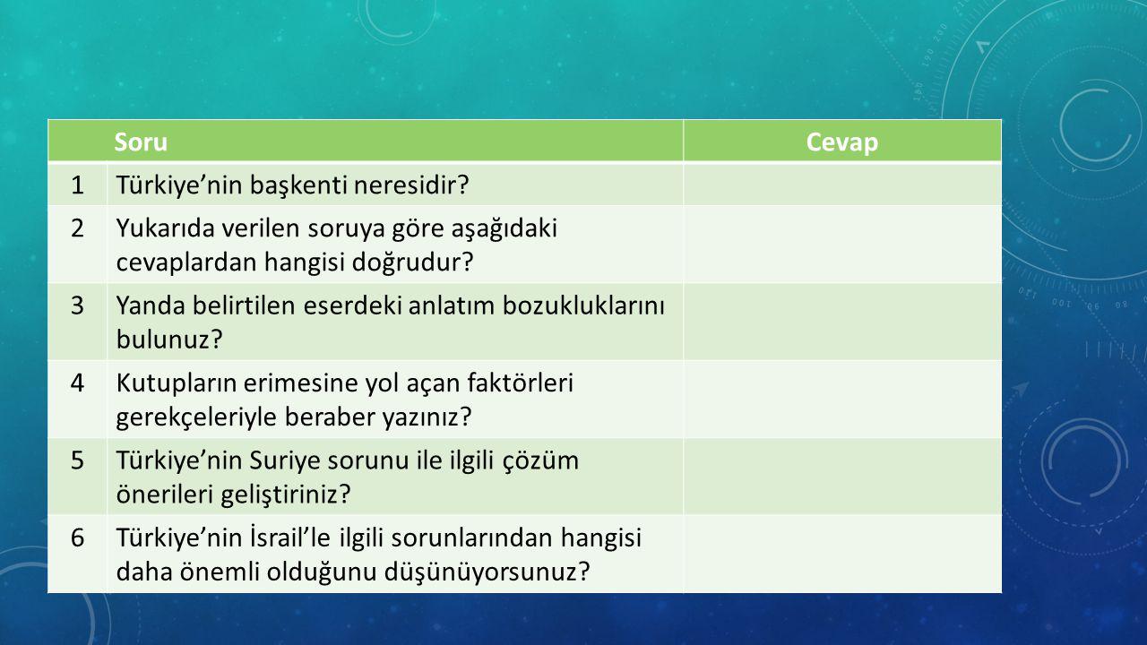 SoruCevap 1Türkiye'nin başkenti neresidir.