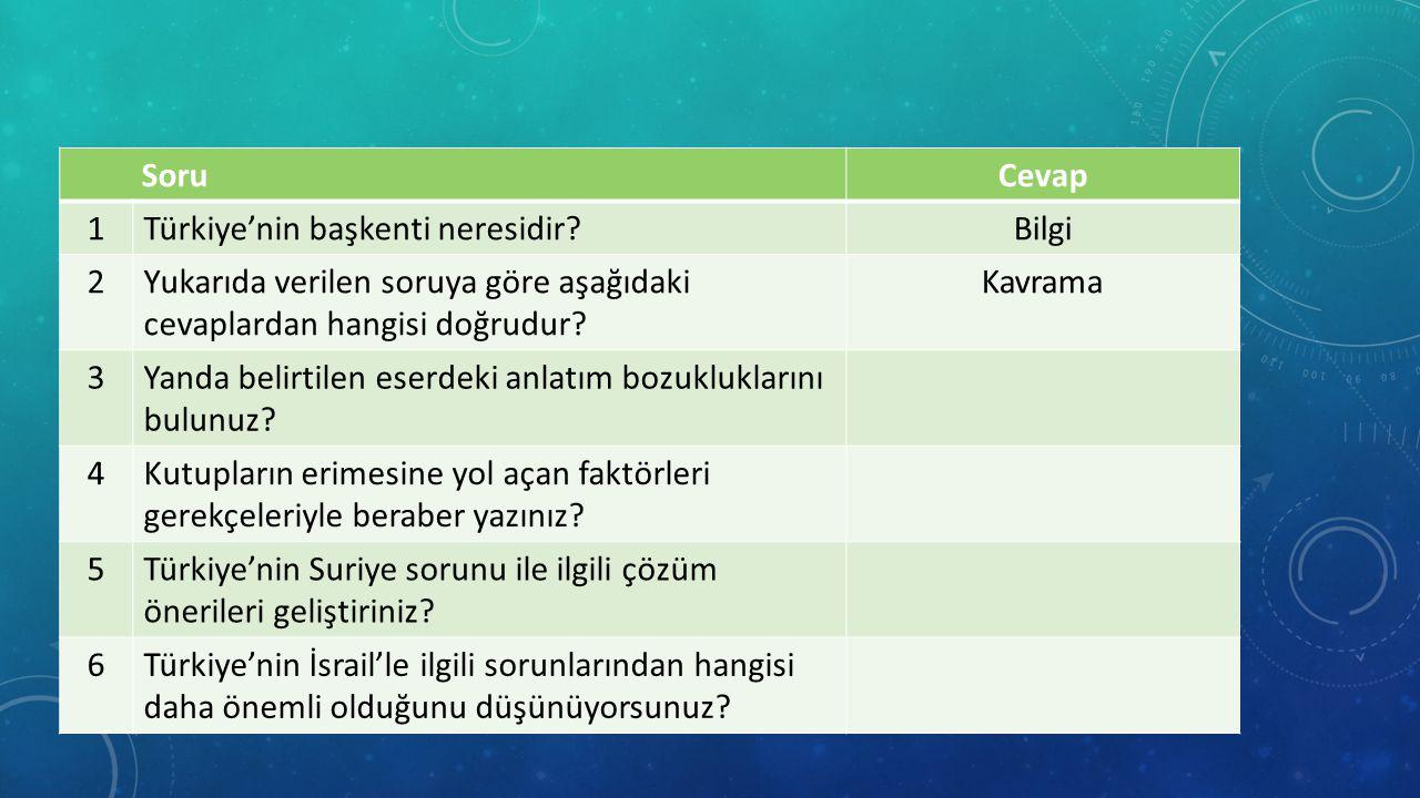 SoruCevap 1Türkiye'nin başkenti neresidir?Bilgi 2Yukarıda verilen soruya göre aşağıdaki cevaplardan hangisi doğrudur.