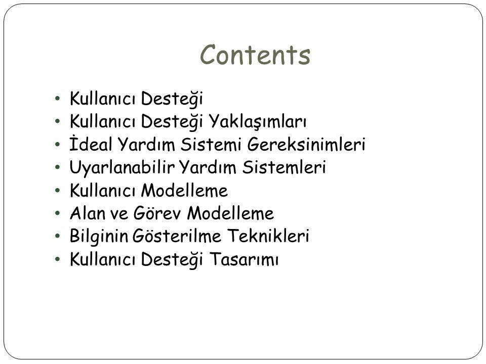 Contents • Kullanıcı Desteği • Kullanıcı Desteği Yaklaşımları • İdeal Yardım Sistemi Gereksinimleri • Uyarlanabilir Yardım Sistemleri • Kullanıcı Mode