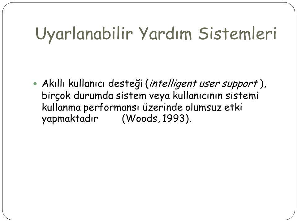 Uyarlanabilir Yardım Sistemleri  Akıllı kullanıcı desteği (intelligent user support ), birçok durumda sistem veya kullanıcının sistemi kullanma perfo