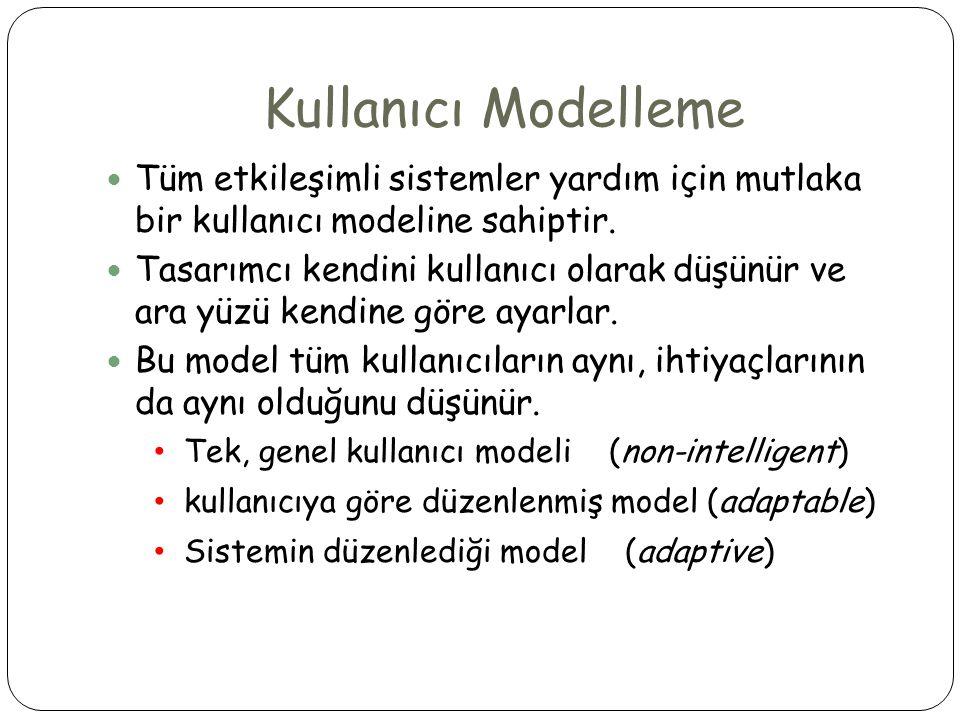 Kullanıcı Modelleme  Tüm etkileşimli sistemler yardım için mutlaka bir kullanıcı modeline sahiptir.  Tasarımcı kendini kullanıcı olarak düşünür ve a