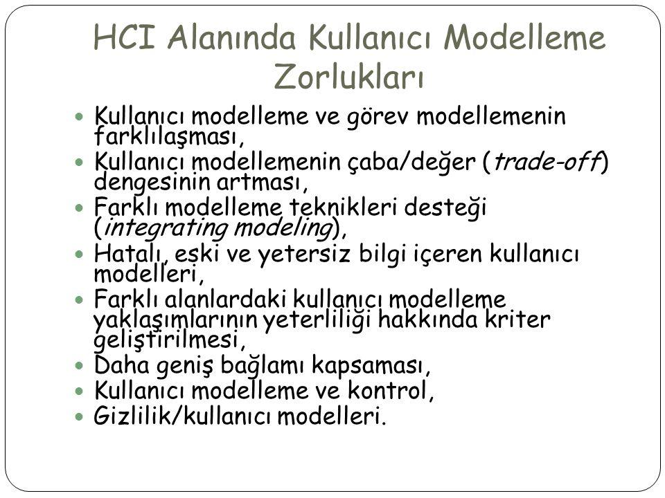 HCI Alanında Kullanıcı Modelleme Zorlukları  Kullanıcı modelleme ve görev modellemenin farklılaşması,  Kullanıcı modellemenin çaba/değer (trade-off)