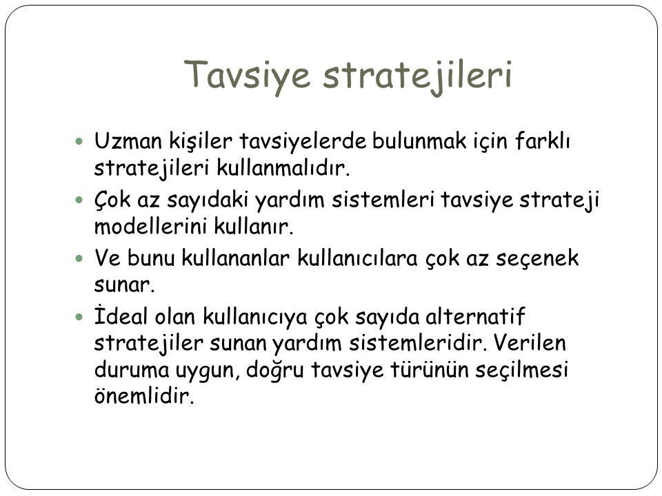 Tavsiye stratejileri  Uzman kişiler tavsiyelerde bulunmak için farklı stratejileri kullanmalıdır.  Çok az sayıdaki yardım sistemleri tavsiye stratej