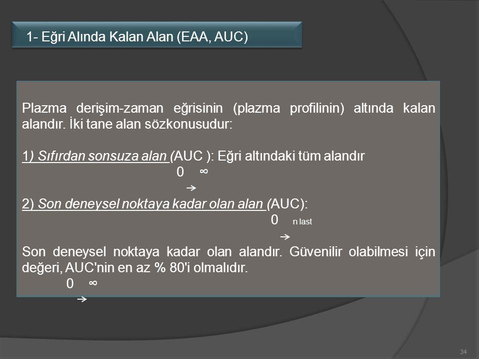 34 11- Eğri altında kalan alan (AUC, E AA) Plazma derişim-zaman eğrisinin (plazma profilinin) altında kalan alandır. İki tane alan sözkonusudur: 1) Sı