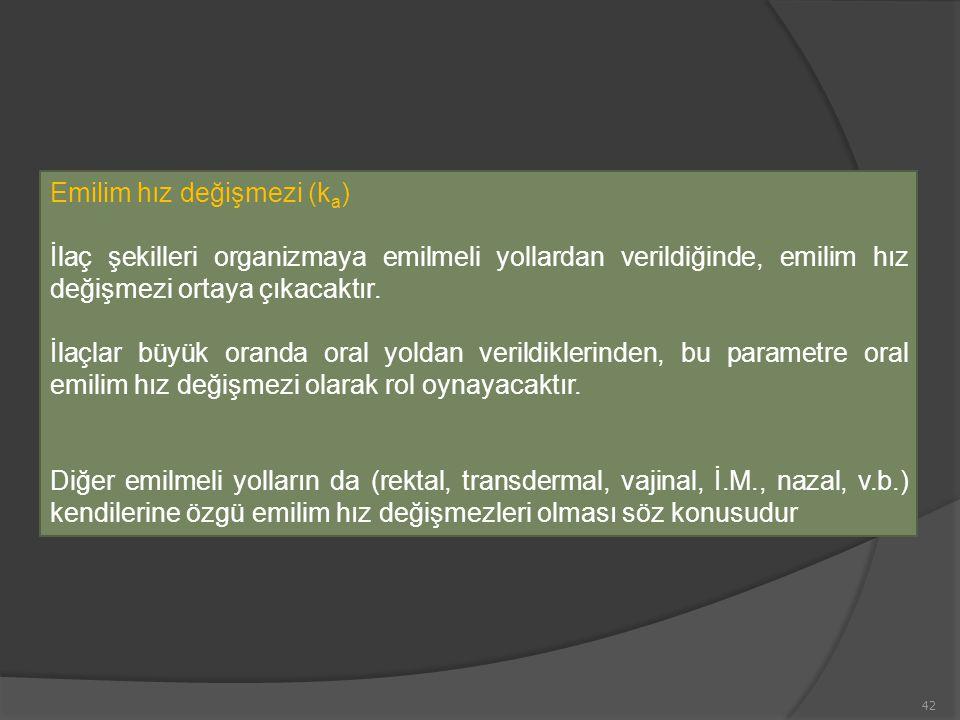 Emilim hız değişmezi (k a ) İlaç şekilleri organizmaya emilmeli yollardan verildiğinde, emilim hız değişmezi ortaya çıkacaktır.