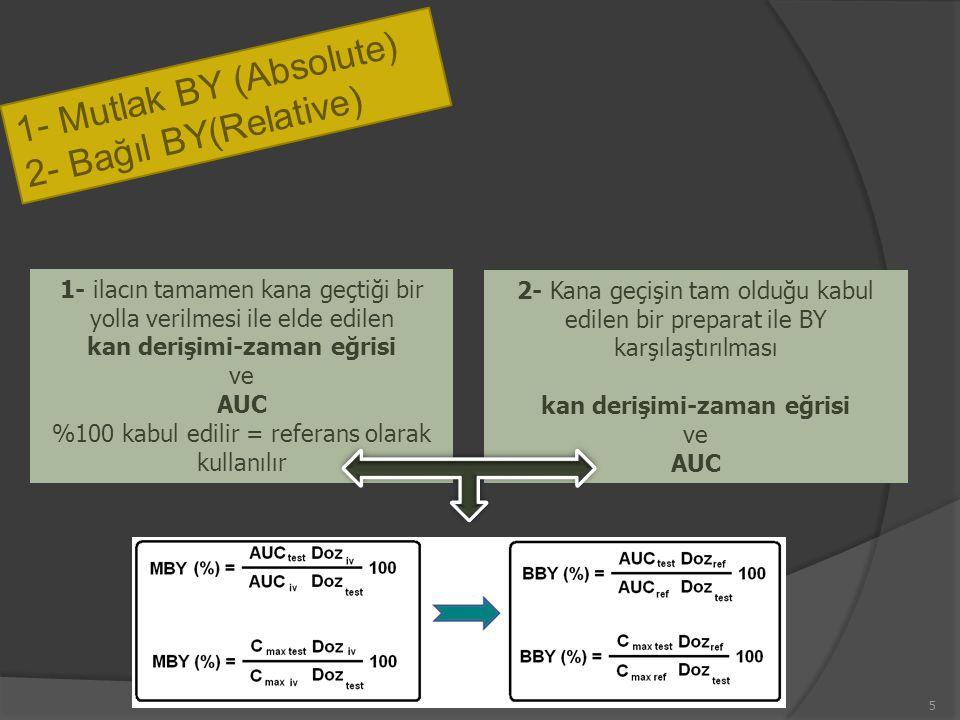 1- Mutlak BY (Absolute) 2- Bağıl BY(Relative) 1- ilacın tamamen kana geçtiği bir yolla verilmesi ile elde edilen kan derişimi-zaman eğrisi ve AUC %100 kabul edilir = referans olarak kullanılır 2- Kana geçişin tam olduğu kabul edilen bir preparat ile BY karşılaştırılması kan derişimi-zaman eğrisi ve AUC 5