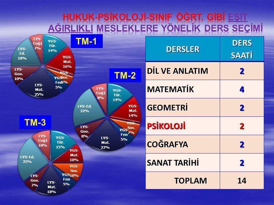 DERSLER DERS SAATİ DİL VE ANLATIM 2 MATEMATİK4 GEOMETRİ2 PSİKOLOJİ2 COĞRAFYA2 SANAT TARİHİ 2 TOPLAM14 TM-1 TM-2 TM-3