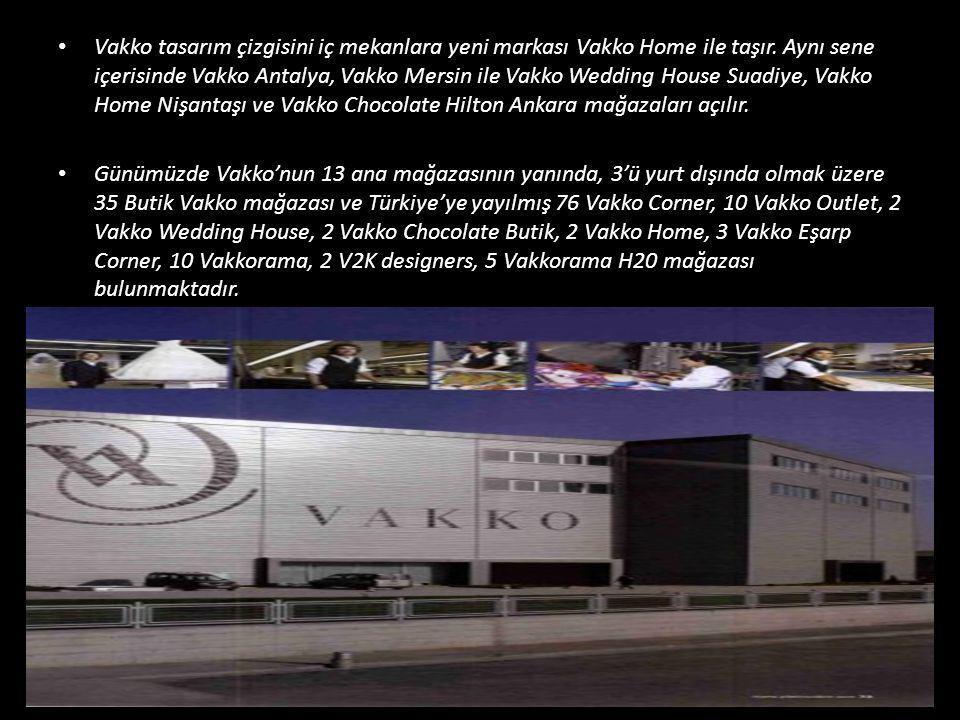 • Vakko tasarım çizgisini iç mekanlara yeni markası Vakko Home ile taşır. Aynı sene içerisinde Vakko Antalya, Vakko Mersin ile Vakko Wedding House Sua