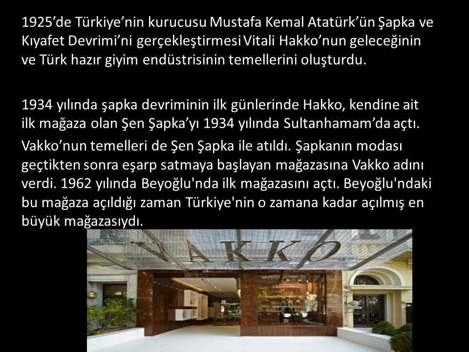 1925'de Türkiye'nin kurucusu Mustafa Kemal Atatürk'ün Şapka ve Kıyafet Devrimi'ni gerçekleştirmesi Vitali Hakko'nun geleceğinin ve Türk hazır giyim en