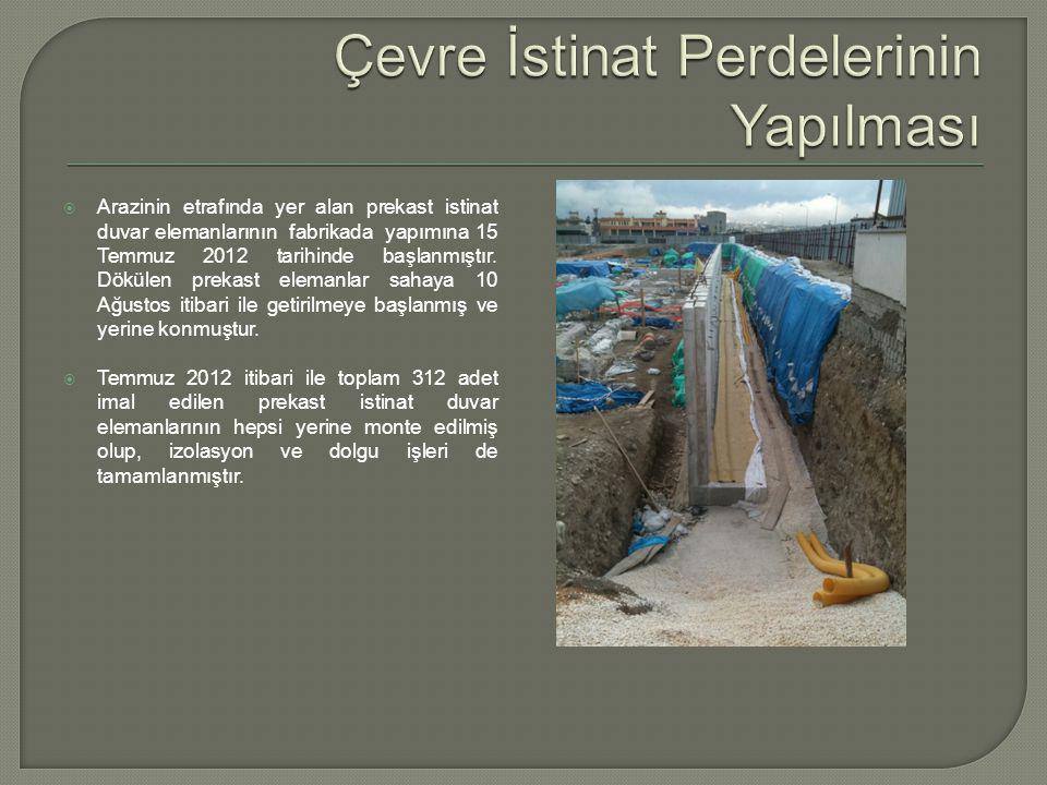  Arazinin etrafında yer alan prekast istinat duvar elemanlarının fabrikada yapımına 15 Temmuz 2012 tarihinde başlanmıştır.