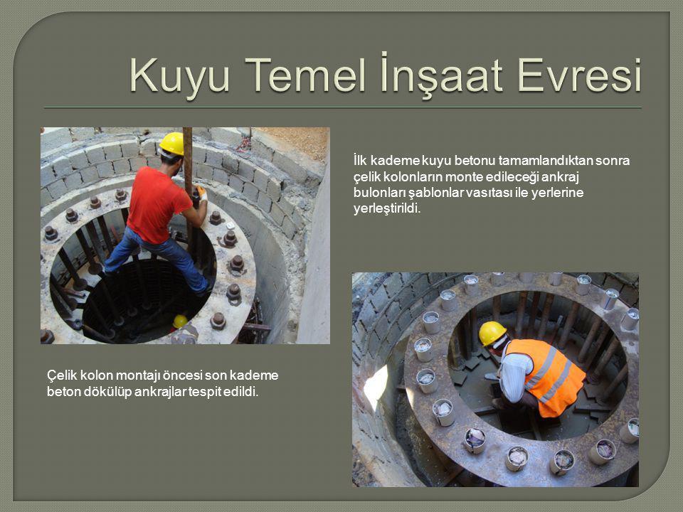 İlk kademe kuyu betonu tamamlandıktan sonra çelik kolonların monte edileceği ankraj bulonları şablonlar vasıtası ile yerlerine yerleştirildi.