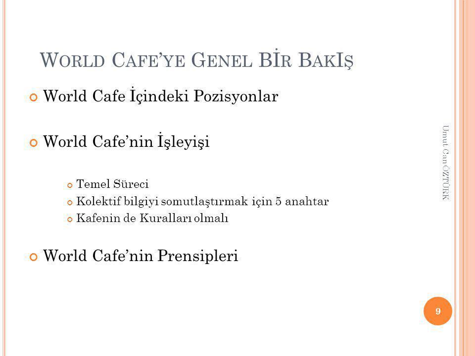 W ORLD C AFE ' YE G ENEL Bİ R B AK I Ş World Cafe İçindeki Pozisyonlar World Cafe'nin İşleyişi Temel Süreci Kolektif bilgiyi somutlaştırmak için 5 anahtar Kafenin de Kuralları olmalı World Cafe'nin Prensipleri 9 Umut Can ÖZTÜRK