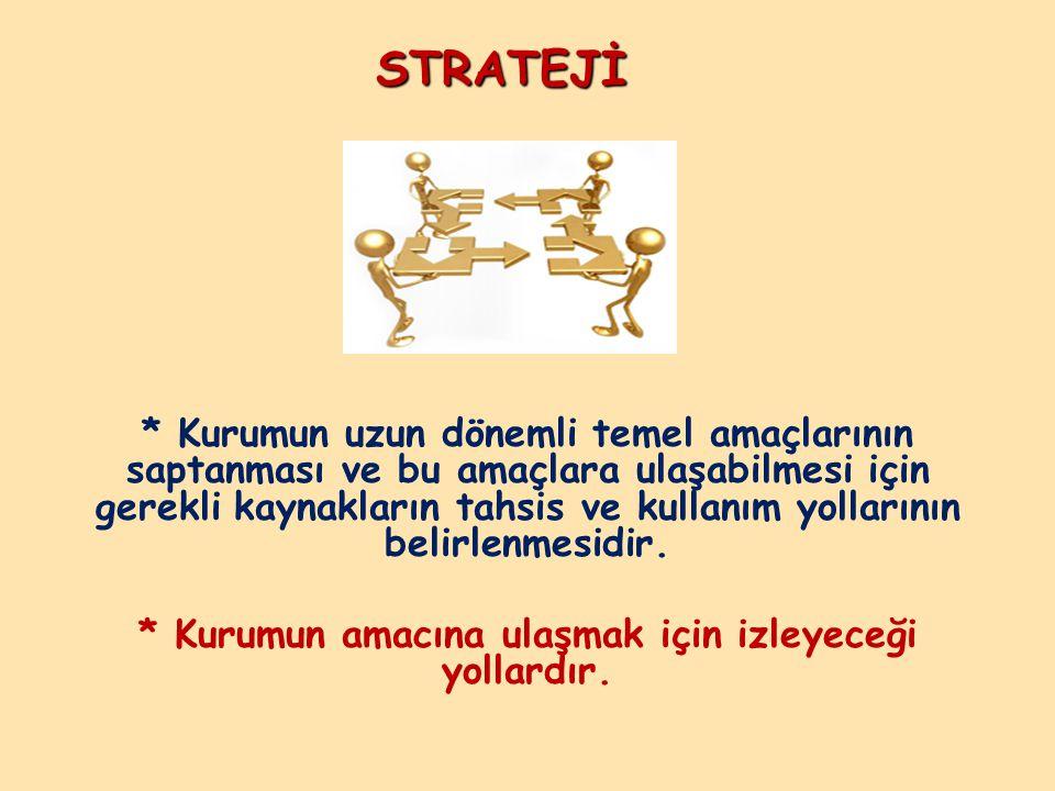 STRATEJİ * Kurumun uzun dönemli temel amaçlarının saptanması ve bu amaçlara ulaşabilmesi için gerekli kaynakların tahsis ve kullanım yollarının belirl