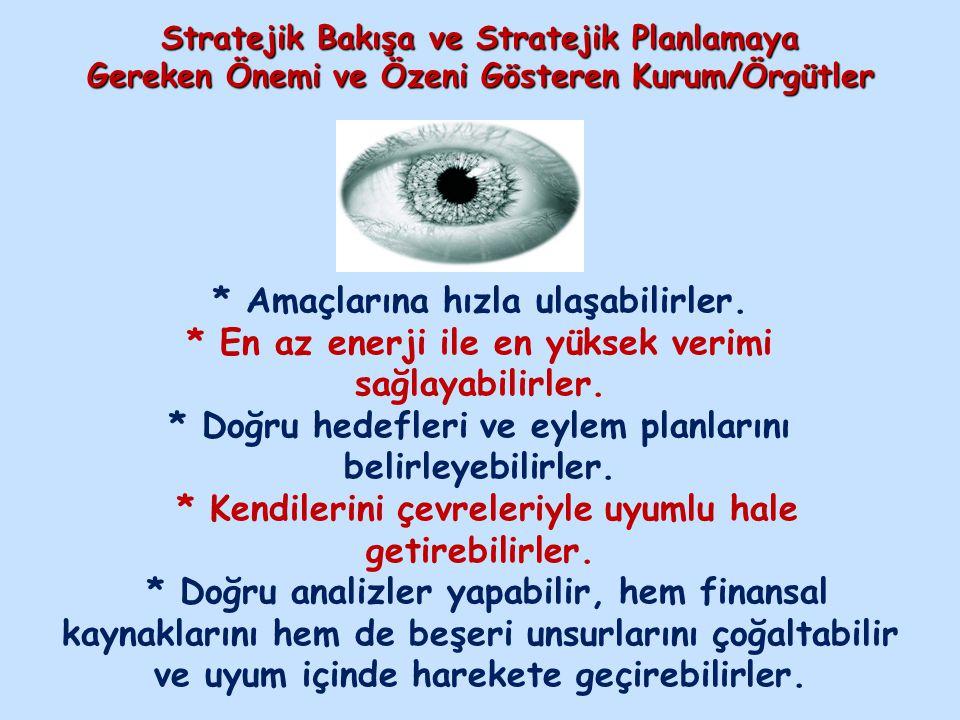 Stratejik Bakışa ve Stratejik Planlamaya Gereken Önemi ve Özeni Gösteren Kurum/Örgütler * Amaçlarına hızla ulaşabilirler. * En az enerji ile en yüksek