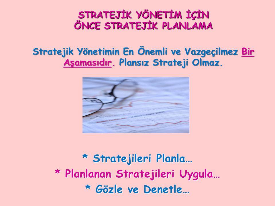 STRATEJİK YÖNETİM İÇİN ÖNCE STRATEJİK PLANLAMA Stratejik Yönetimin En Önemli ve Vazgeçilmez Bir Aşamasıdır. Plansız Strateji Olmaz. * Stratejileri Pla