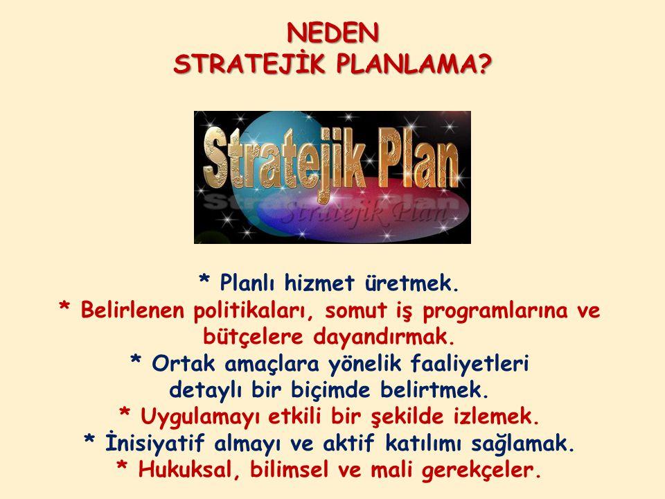 NEDEN STRATEJİK PLANLAMA? * Planlı hizmet üretmek. * Belirlenen politikaları, somut iş programlarına ve bütçelere dayandırmak. * Ortak amaçlara yöneli