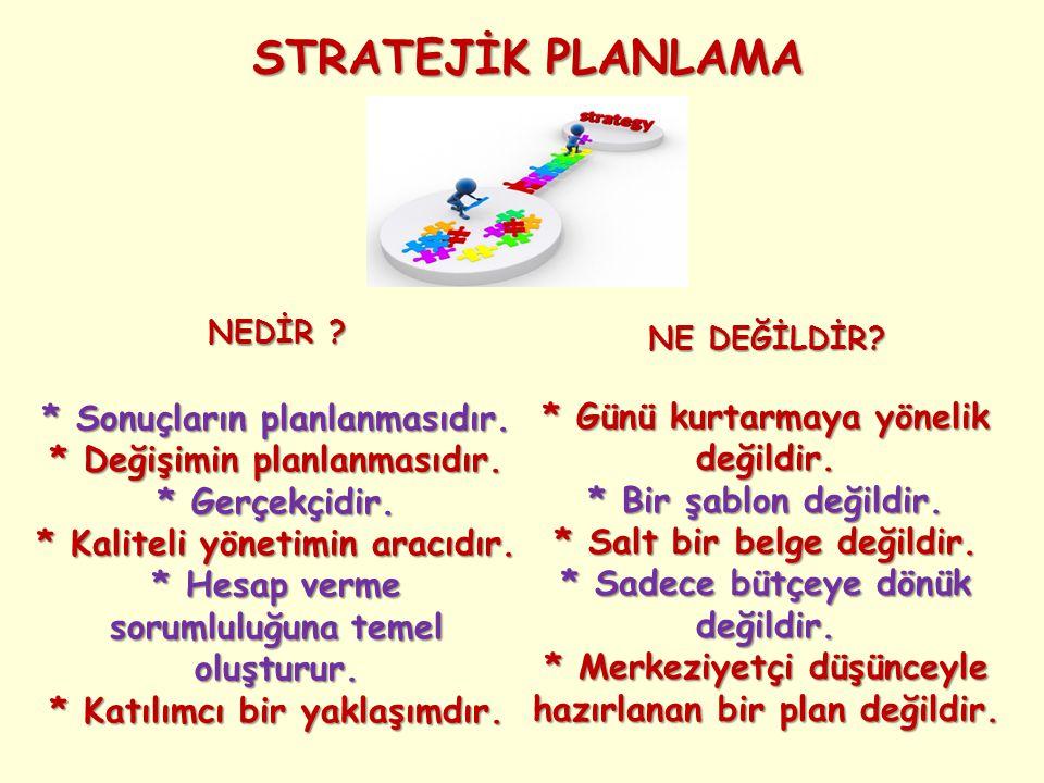STRATEJİK PLANLAMA NEDİR ? * Sonuçların planlanmasıdır. * Değişimin planlanmasıdır. * Gerçekçidir. * Kaliteli yönetimin aracıdır. * Hesap verme soruml