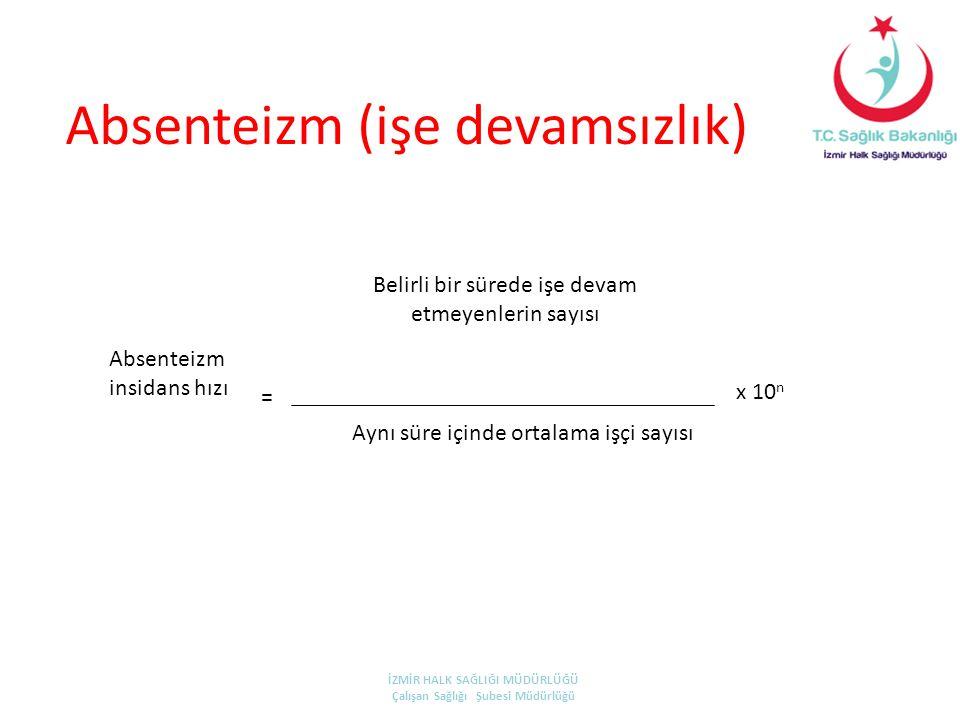 Absenteizm (işe devamsızlık) Absenteizm insidans hızı Belirli bir sürede işe devam etmeyenlerin sayısı Aynı süre içinde ortalama işçi sayısı x 10 n =