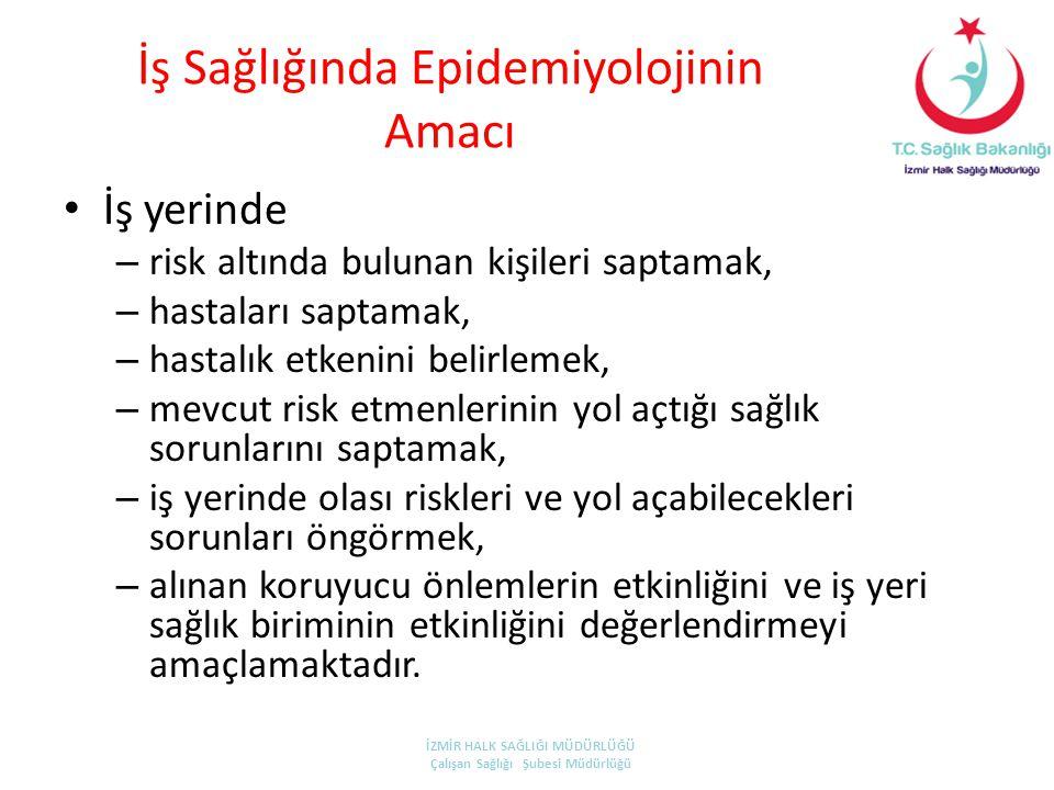 İş Sağlığında Epidemiyolojinin Amacı • İş yerinde – risk altında bulunan kişileri saptamak, – hastaları saptamak, – hastalık etkenini belirlemek, – me