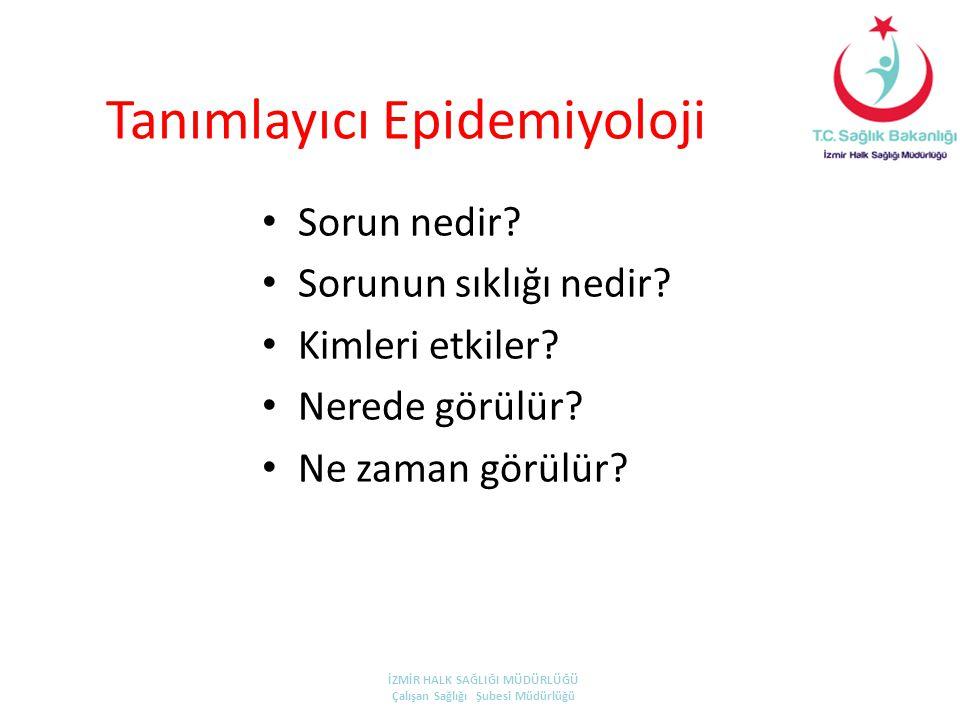 Tanımlayıcı Epidemiyoloji • Sorun nedir? • Sorunun sıklığı nedir? • Kimleri etkiler? • Nerede görülür? • Ne zaman görülür? İZMİR HALK SAĞLIĞI MÜDÜRLÜĞ
