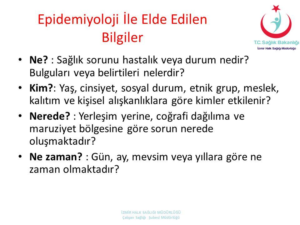Epidemiyoloji İle Elde Edilen Bilgiler • Ne? : Sağlık sorunu hastalık veya durum nedir? Bulguları veya belirtileri nelerdir? • Kim?: Yaş, cinsiyet, so