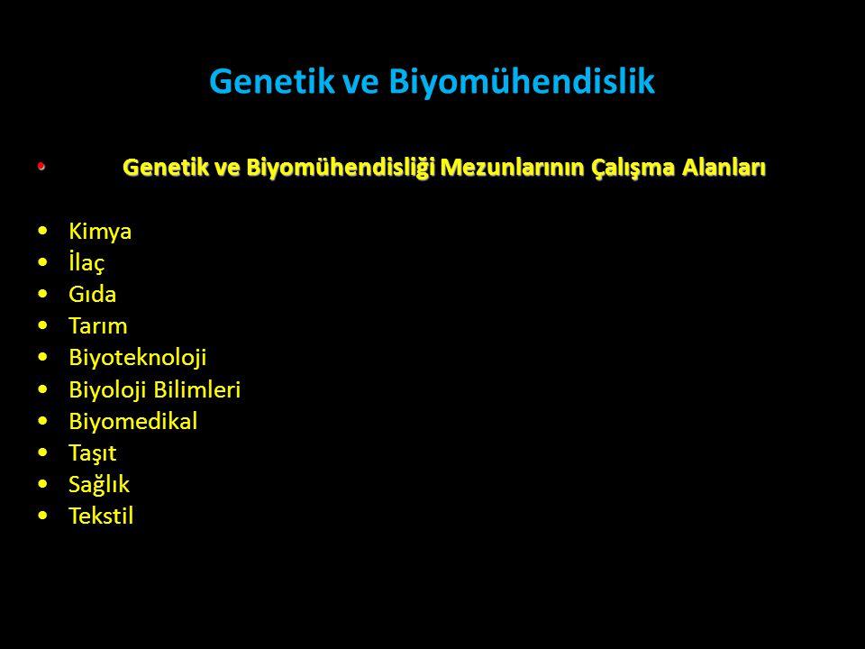 Genetik ve Biyomühendislik • Genetik ve Biyomühendisliği Mezunlarının Çalışma Alanları •Kimya •İlaç •Gıda •Tarım •Biyoteknoloji •Biyoloji Bilimleri •B