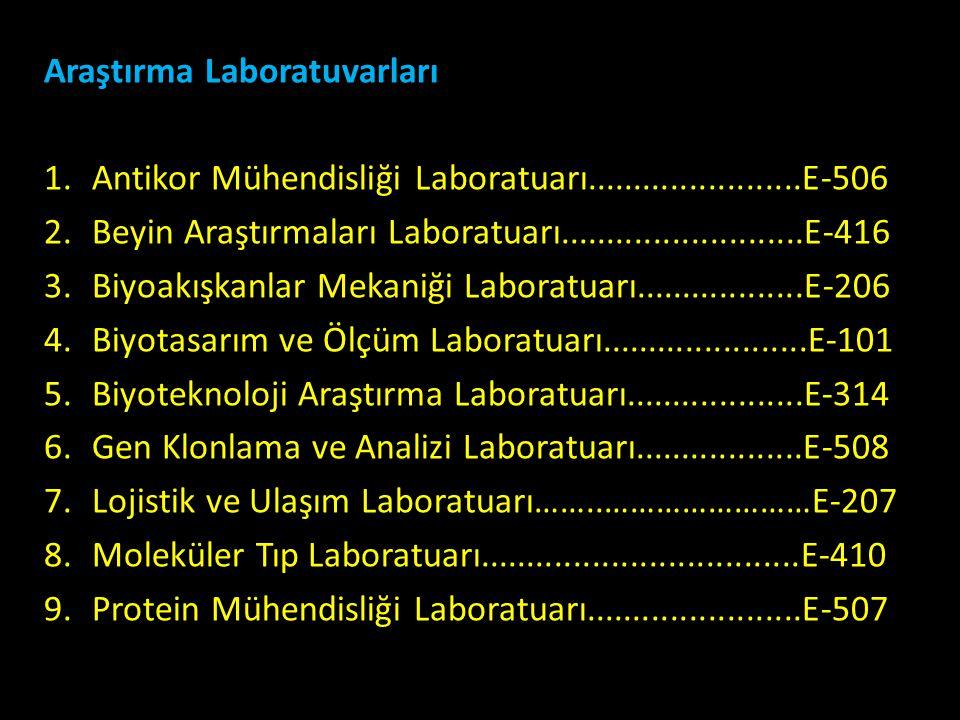 Araştırma Laboratuvarları 1.Antikor Mühendisliği Laboratuarı.......................E-506 2.Beyin Araştırmaları Laboratuarı..........................E-