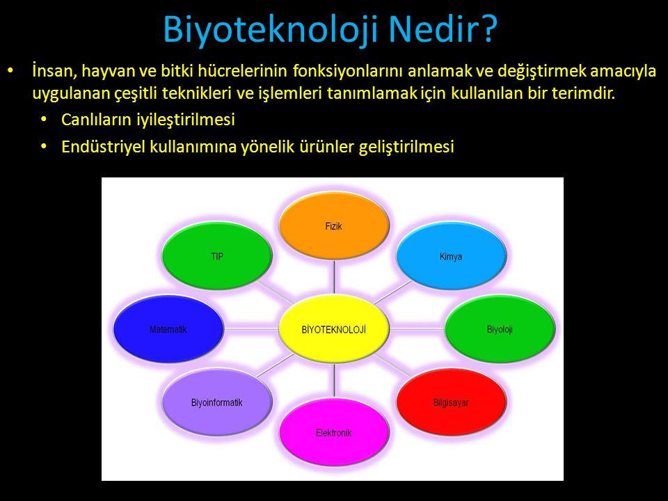 Biyoteknoloji Nedir? • İnsan, hayvan ve bitki hücrelerinin fonksiyonlarını anlamak ve değiştirmek amacıyla uygulanan çeşitli teknikleri ve işlemleri t