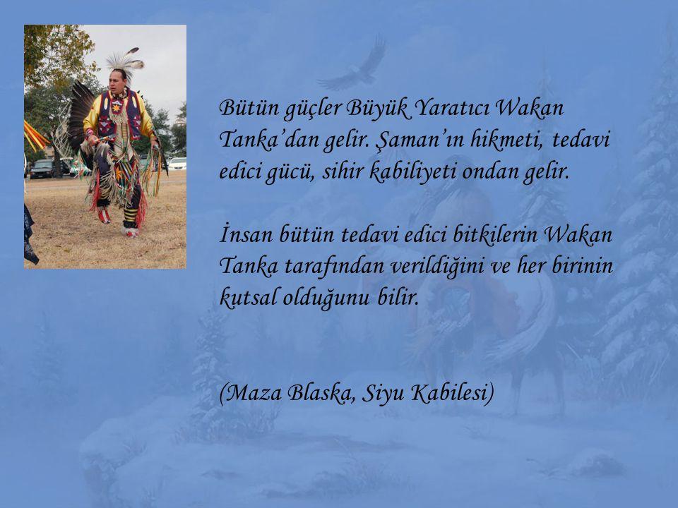 Bütün güçler Büyük Yaratıcı Wakan Tanka'dan gelir. Şaman'ın hikmeti, tedavi edici gücü, sihir kabiliyeti ondan gelir. İnsan bütün tedavi edici bitkile