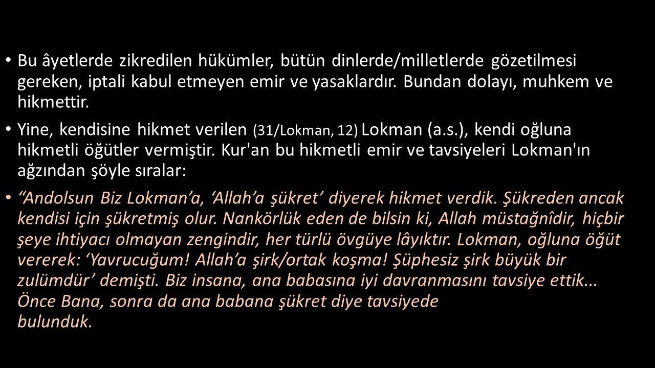 • Bu âyetlerde zikredilen hükümler, bütün dinlerde/milletlerde gözetilmesi gereken, iptali kabul etmeyen emir ve yasaklardır. Bundan dolayı, muhkem ve