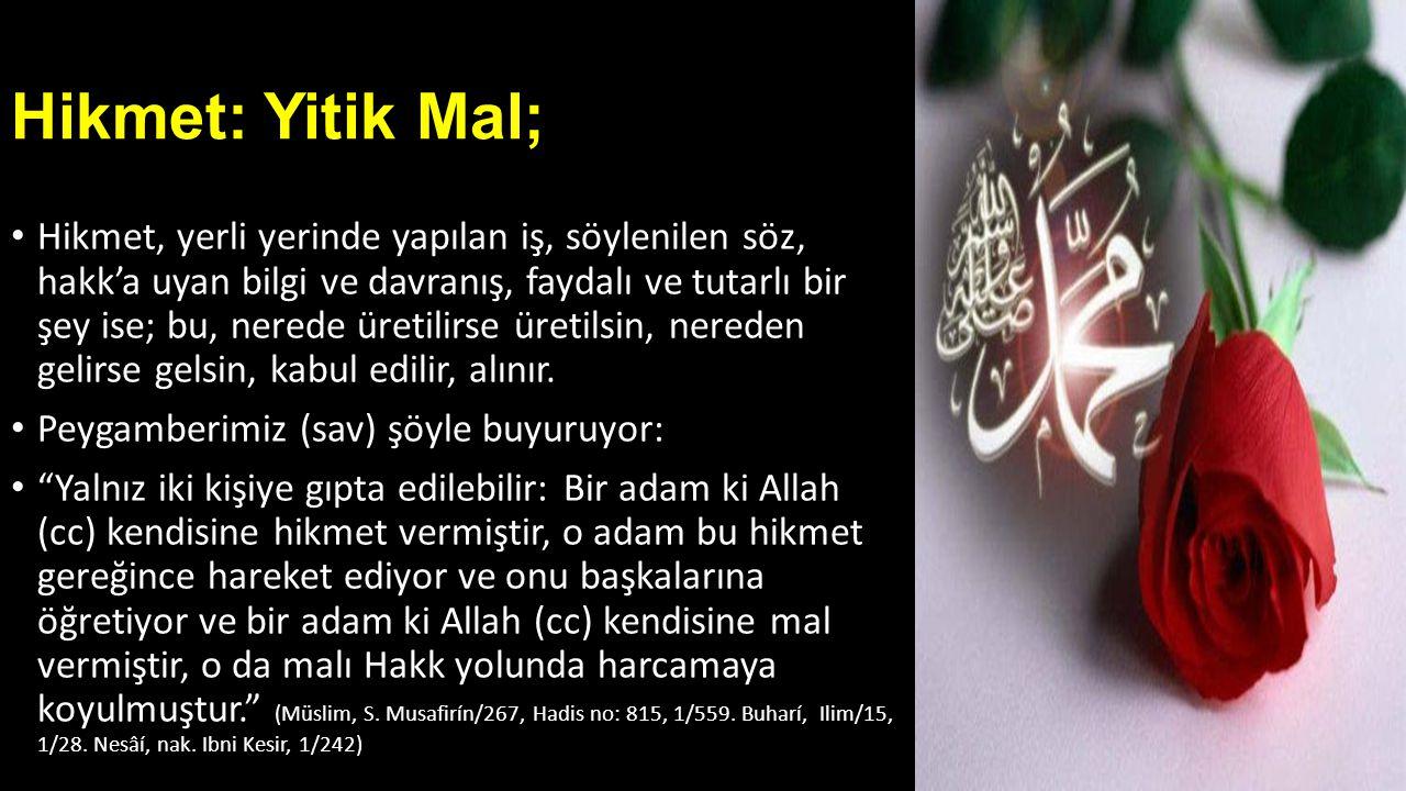 • Kimileri de 'Hikmetin başı Allah korkusudur ' (Ibni Merduyeh, nak.