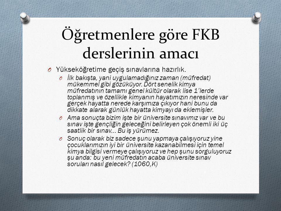 Öğretmenlere göre FKB derslerinin amacı O Yükseköğretime geçiş sınavlarına hazırlık.