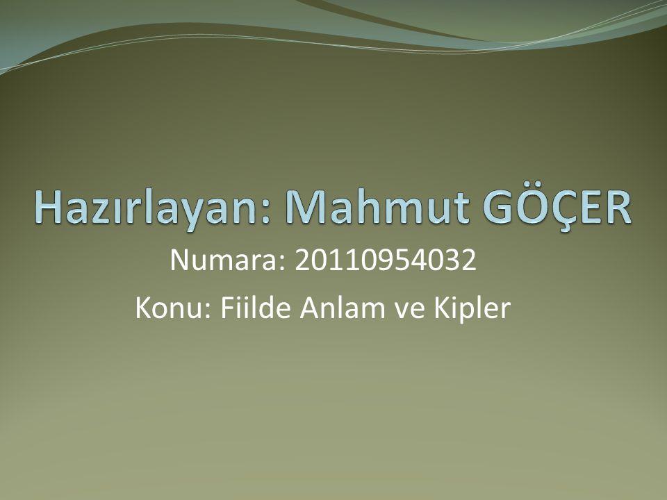 Numara: 20110954032 Konu: Fiilde Anlam ve Kipler