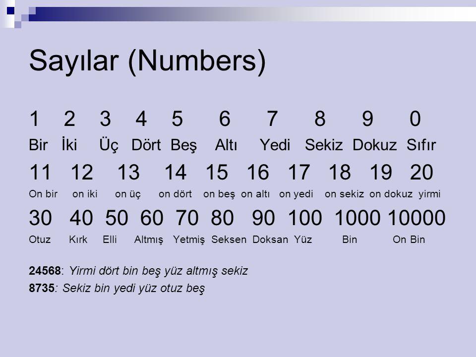 Sayılar (Numbers) 1 2 3 4567890 Bir İki Üç Dört Beş Altı Yedi Sekiz Dokuz Sıfır 11 12 13 14 15 16 17 18 19 20 On bir on iki on üç on dört on beş on al