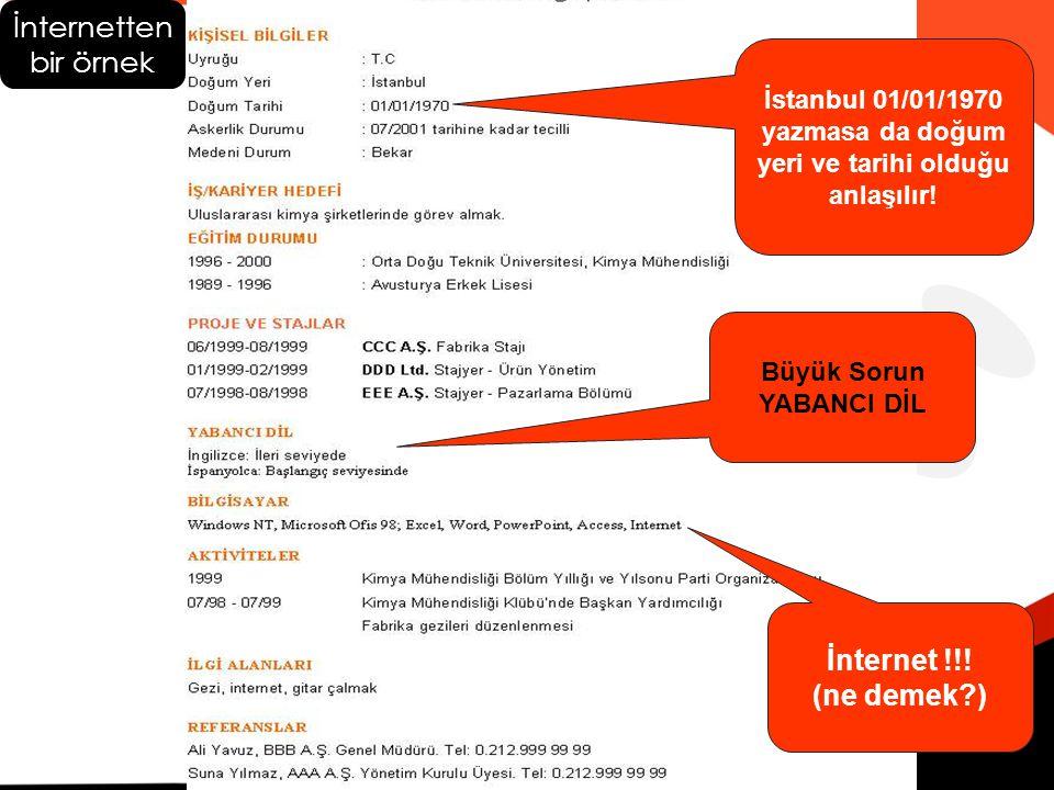 İstanbul 01/01/1970 yazmasa da doğum yeri ve tarihi olduğu anlaşılır! İnternetten bir örnek Büyük Sorun YABANCI DİL İnternet !!! (ne demek?)