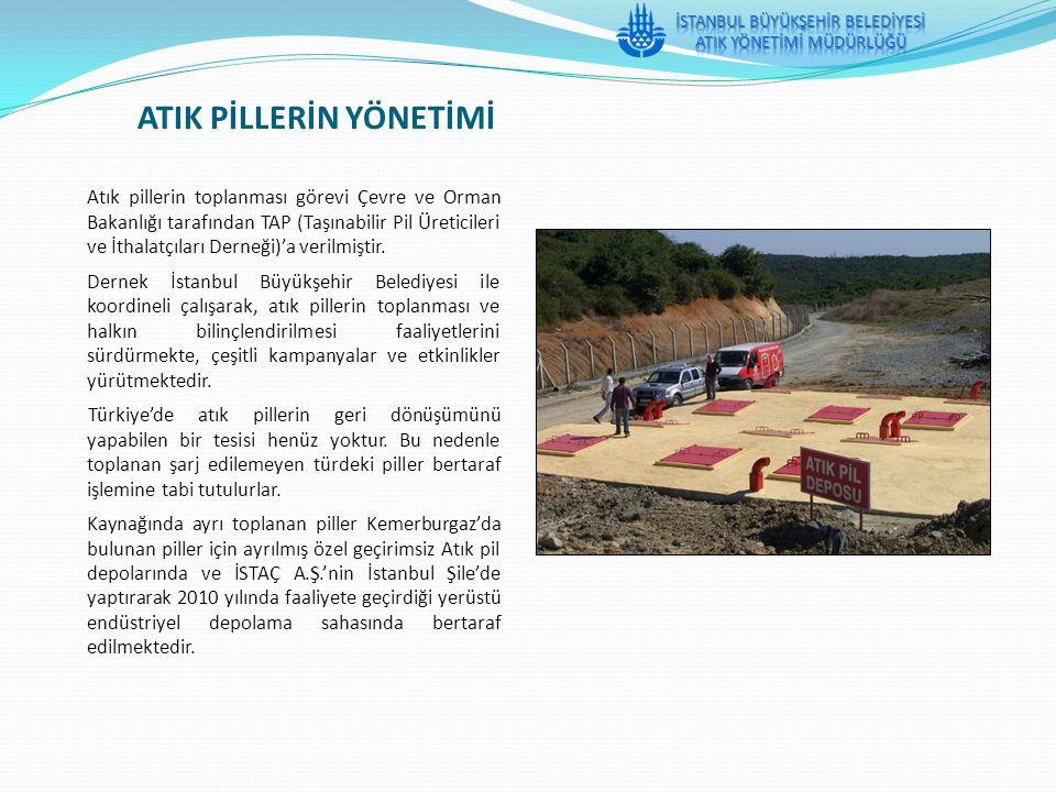 ATIK PİLLERİN YÖNETİMİ Atık pillerin toplanması görevi Çevre ve Orman Bakanlığı tarafından TAP (Taşınabilir Pil Üreticileri ve İthalatçıları Derneği)'