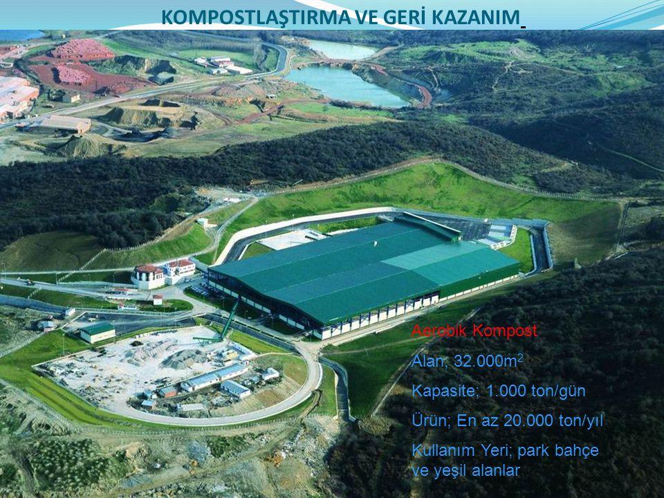 Aerobik Kompost Alan; 32.000m 2 Kapasite; 1.000 ton/gün Ürün; En az 20.000 ton/yıl Kullanım Yeri; park bahçe ve yeşil alanlar KOMPOSTLAŞTIRMA VE GERİ