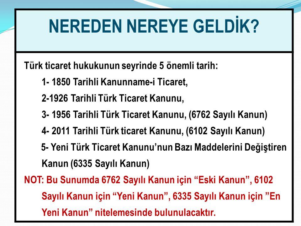 33 NEREDEN NEREYE GELDİK? Türk ticaret hukukunun seyrinde 5 önemli tarih: 1- 1850 Tarihli Kanunname-i Ticaret, 2-1926 Tarihli Türk Ticaret Kanunu, 3-