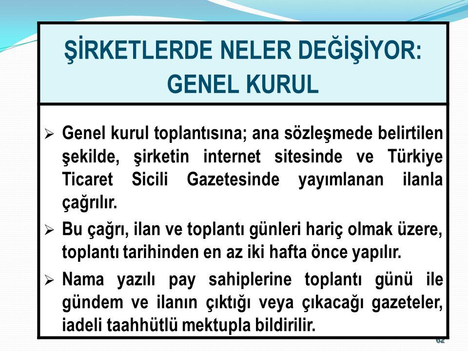 6262 ŞİRKETLERDE NELER DEĞİŞİYOR: GENEL KURUL  Genel kurul toplantısına; ana sözleşmede belirtilen şekilde, şirketin internet sitesinde ve Türkiye Ti