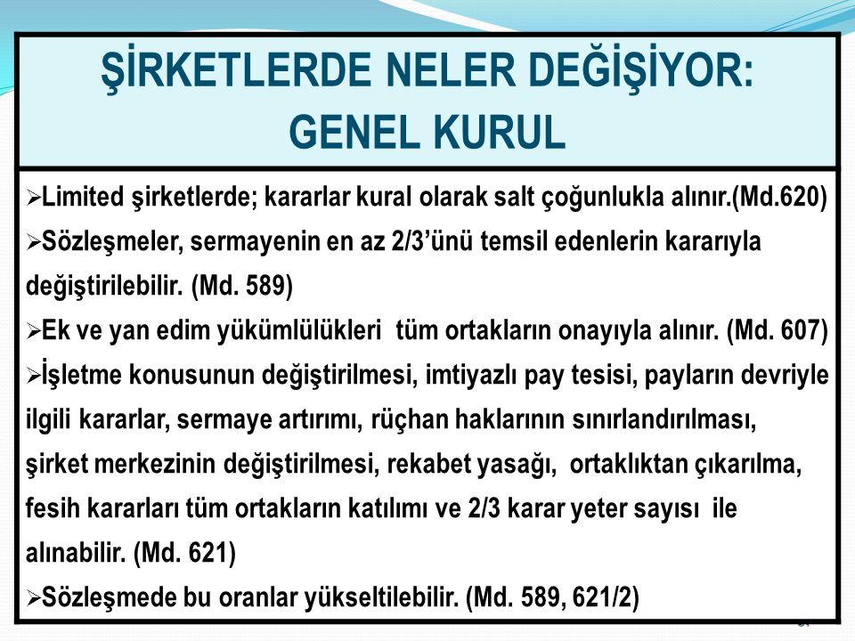 6767 ŞİRKETLERDE NELER DEĞİŞİYOR: GENEL KURUL  Limited şirketlerde; kararlar kural olarak salt çoğunlukla alınır.(Md.620)  Sözleşmeler, sermayenin e