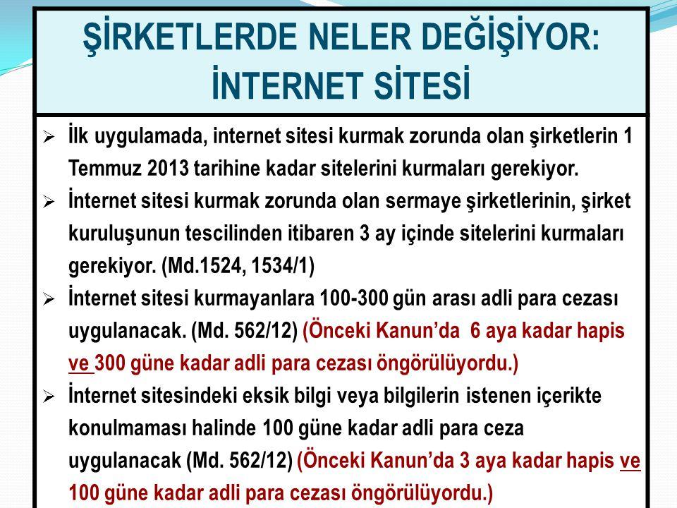 7070 ŞİRKETLERDE NELER DEĞİŞİYOR: İNTERNET SİTESİ  İlk uygulamada, internet sitesi kurmak zorunda olan şirketlerin 1 Temmuz 2013 tarihine kadar sitel