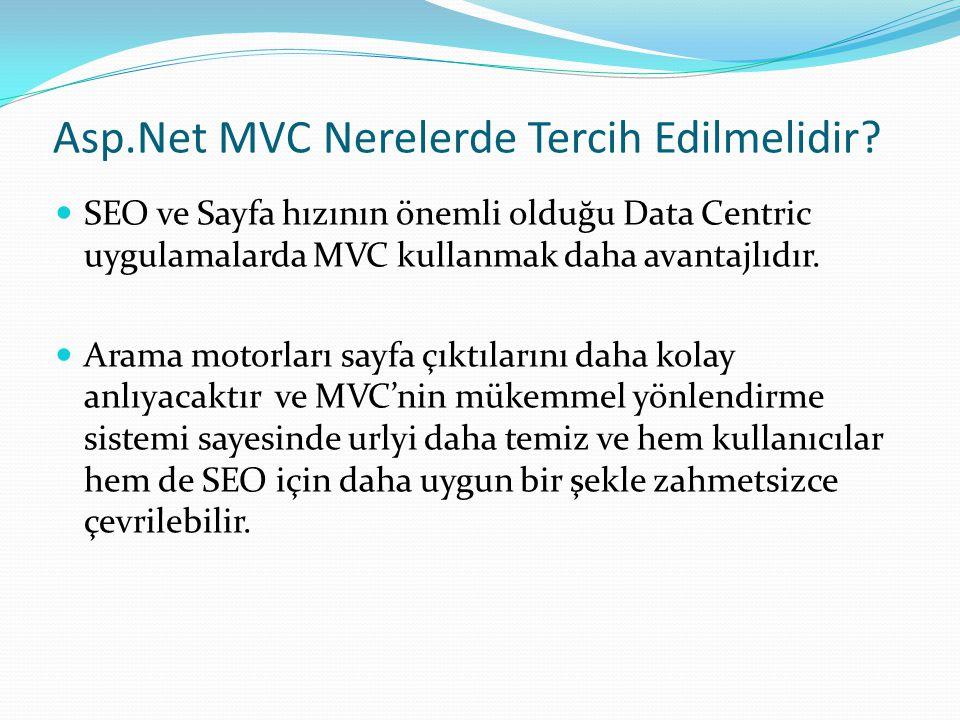 Asp.Net MVC Nerelerde Tercih Edilmelidir.