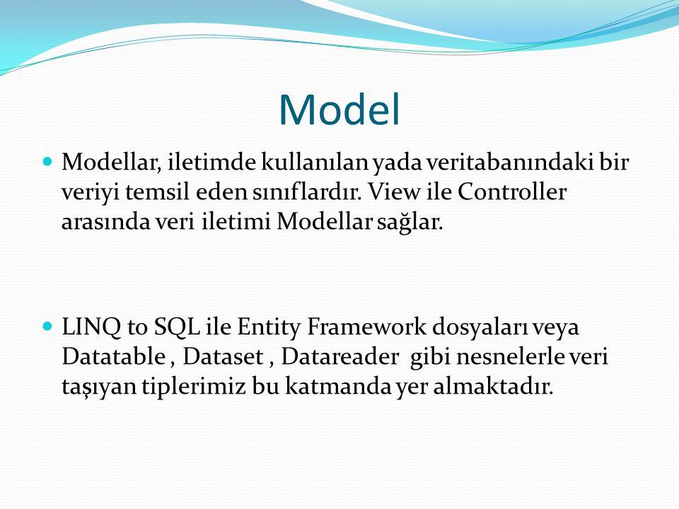 Model  Modellar, iletimde kullanılan yada veritabanındaki bir veriyi temsil eden sınıflardır.