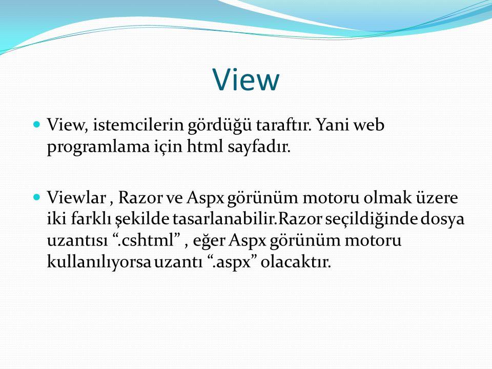 View, istemcilerin gördüğü taraftır.Yani web programlama için html sayfadır.