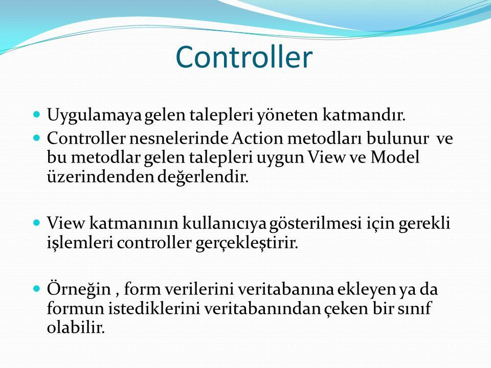 Controller  Uygulamaya gelen talepleri yöneten katmandır.