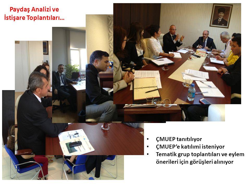 Paydaş Analizi ve İstişare Toplantıları… • ÇMUEP tanıtılıyor • ÇMUEP'e katılımi isteniyor • Tematik grup toplantıları ve eylem önerileri için görüşler