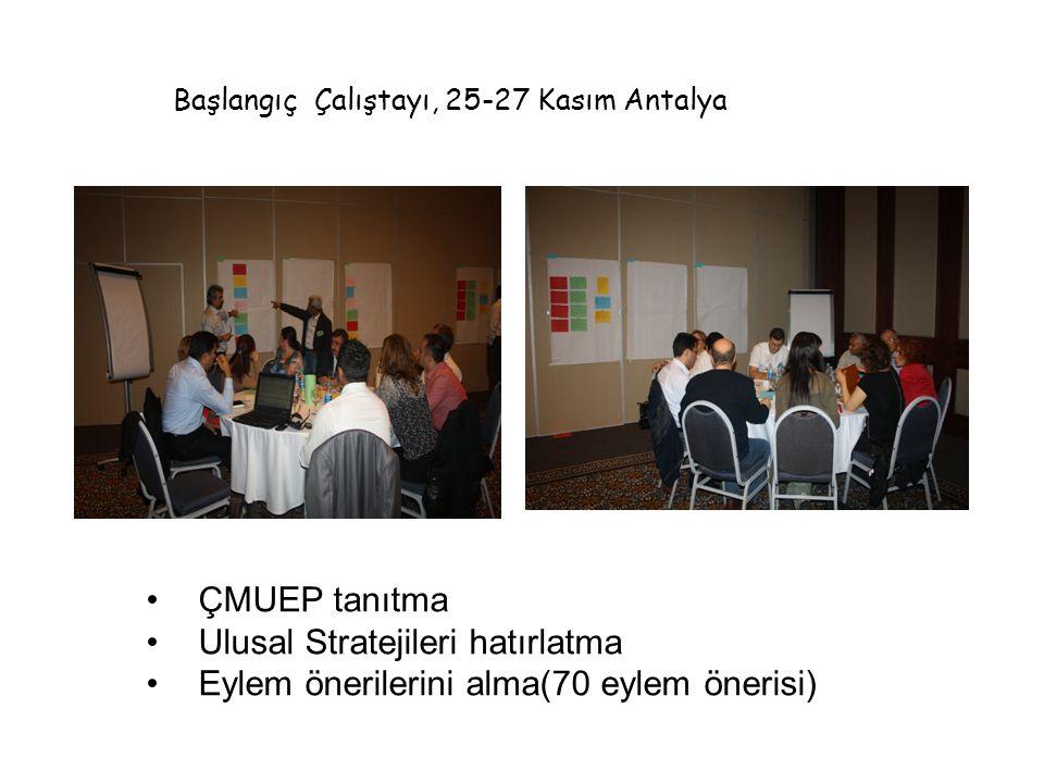 •ÇMUEP tanıtma •Ulusal Stratejileri hatırlatma •Eylem önerilerini alma(70 eylem önerisi) Başlangıç Çalıştayı, 25-27 Kasım Antalya