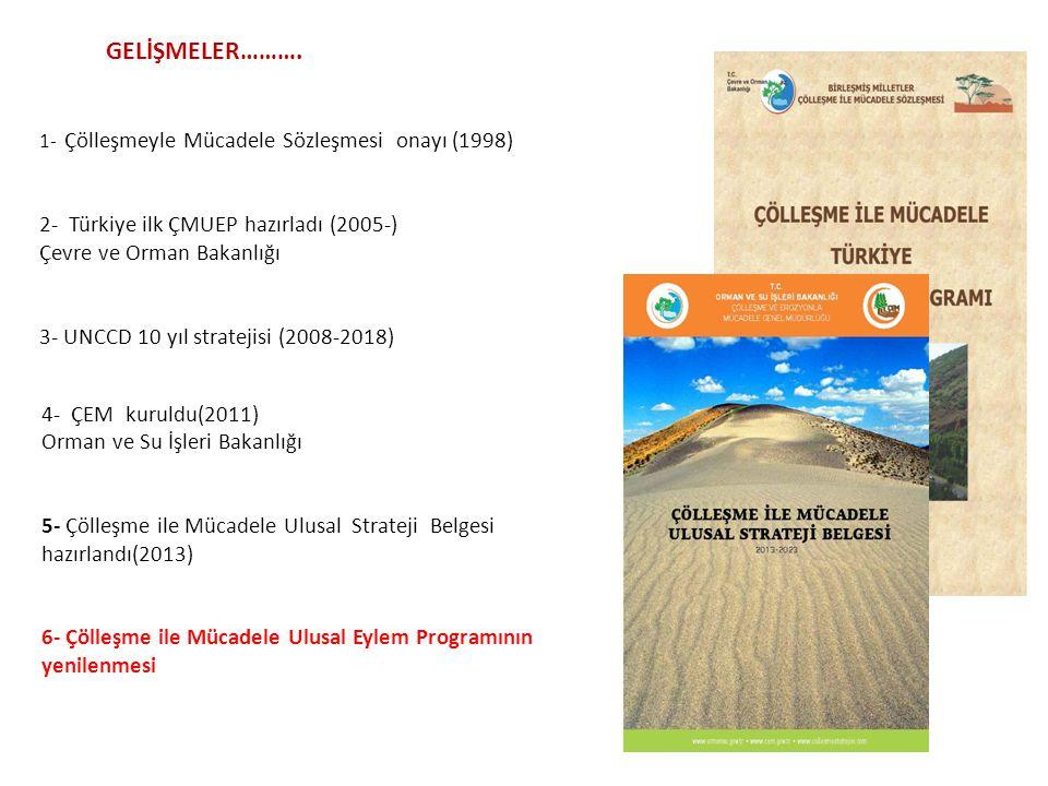 GELİŞMELER………. 1- Çölleşmeyle Mücadele Sözleşmesi onayı (1998) 2- Türkiye ilk ÇMUEP hazırladı (2005-) Çevre ve Orman Bakanlığı 3- UNCCD 10 yıl stratej