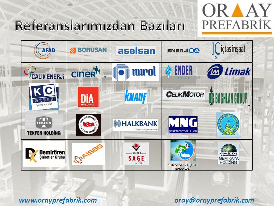 oray@orayprefabrik.com www.orayprefabrik.com • Ofis Konteynerları • İşçi & Mühendis Yatakhane Konteynerları • Mutfak ve Yemekhane Konteynerları • WC-Duş ve Çamaşırhane Konteynerları • Laboratuvar Konteynerları • Hizmet ve Yönetim Konteynerları • Özel Dizayn (GSM, Operatör vb) Konteynerlar • Klinik Üniteleri • Güvenlik Kabinleri Tek, İki veya Üç Katlı Çözümler