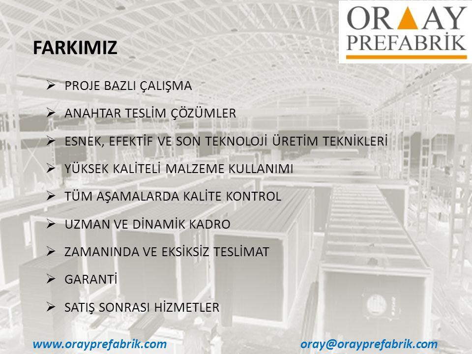 www.orayprefabrik.comoray@orayprefabrik.com  PROJE BAZLI ÇALIŞMA  ANAHTAR TESLİM ÇÖZÜMLER  ESNEK, EFEKTİF VE SON TEKNOLOJİ ÜRETİM TEKNİKLERİ  YÜKS